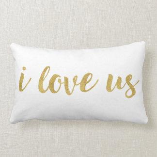 Coussin Rectangle L'or en lettres I de main moderne nous aiment