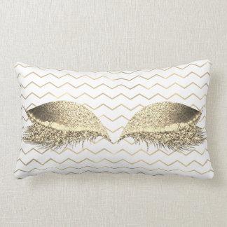 Coussin Rectangle Maquillage blanc d'or de parties scintillantes