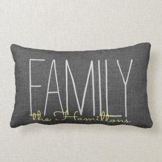 Coussin Rectangle Monogramme chic rustique de famille EN JAUNE