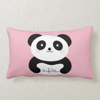 Coussin Rectangle Monogramme Girly mignon d'ours panda de bébé