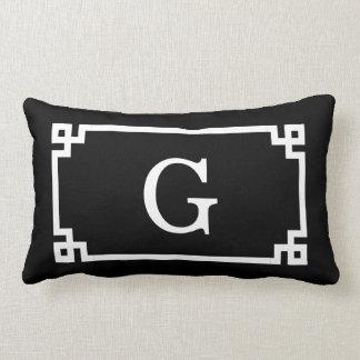 Coussin Rectangle Monogramme initial principal grec blanc noir du