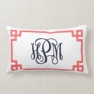 Coussin Rectangle Monogramme principal grec de manuscrit de corail