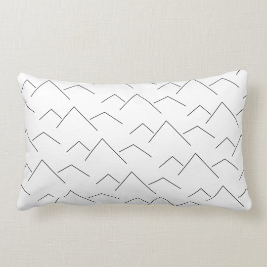 Coussin Rectangle Montagne mountain blanc white graphic design