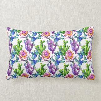 Coussin Rectangle Motif de cactus de fleur sauvage d'aquarelle