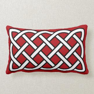 Coussin Rectangle Motif de noeud celtique, rouge-foncé, noir et