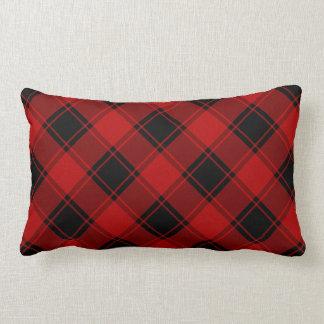 Coussin Rectangle Motif de plaid - rouge et noir