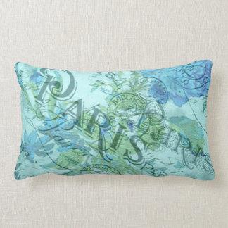Coussin Rectangle Motif floral bleu vintage de cachet de la poste de