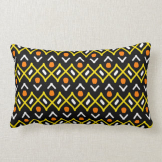 Coussin Rectangle Motif tribal abstrait de jaune orange et de noir