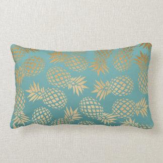 Coussin Rectangle motif tropical d'ananas d'or élégant de faux