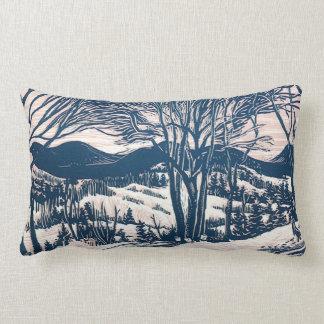 Coussin Rectangle Noël vintage, paysage de montagne d'hiver