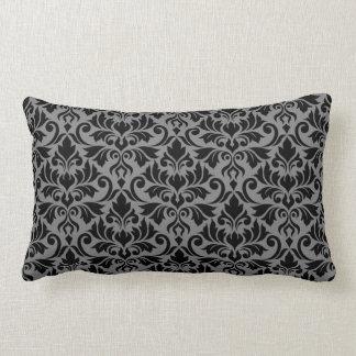 Coussin Rectangle Noir et gris de motif de damassé de Flourish