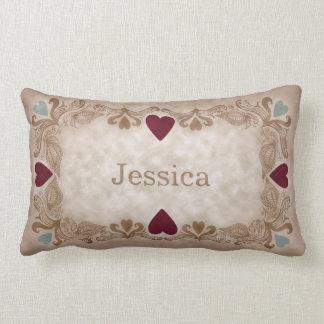 Coussin Rectangle Nom vintage antique de coutume de style d'amour et