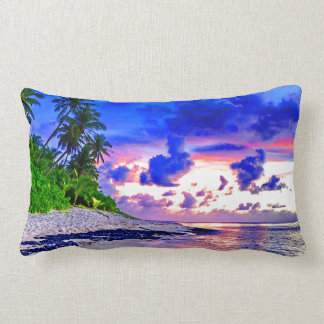 Coussin Rectangle Paradis tropical de coucher du soleil d'île