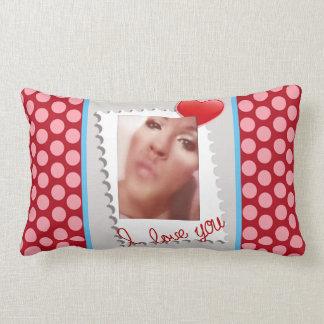 Coussin Rectangle Photo personnalisée de jour de Valentines de point