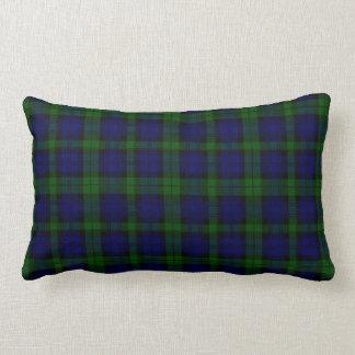 Coussin Rectangle Plaid noir de vert bleu de tartan de clan de