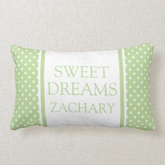Coussin Rectangle Pois blanc sur des rêves doux verts en bon état