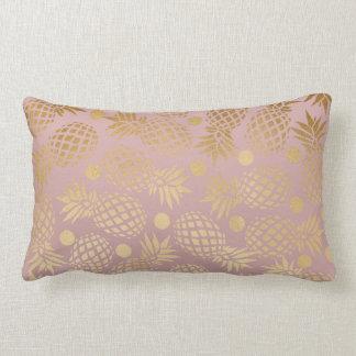 Coussin Rectangle pois élégant de motif d'ananas d'or de faux