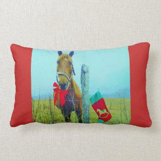 Coussin Rectangle Rétro cheval de Noël avec le bas et l'arc rouge