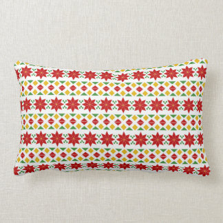 Coussin Rectangle Rétros vacances de Noël | de poinsettia