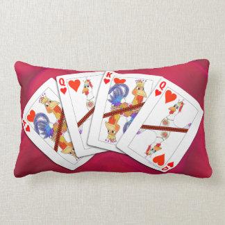 Coussin Rectangle Roi de poulet et reine des cartes de jeu de coeurs