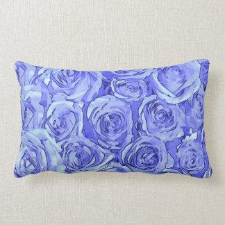 Coussin Rectangle Roses bleu-clair
