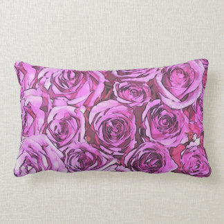 Coussin Rectangle Roses magenta