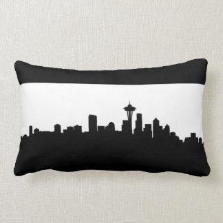 Coussin Rectangle silhouette Amérique de noir de paysage urbain de