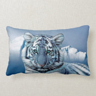 Coussin Rectangle Tigre blanc bleu