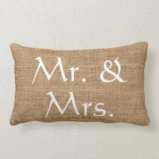 Coussin Rectangle Toile de jute rustique de M. et de Mme Wedding