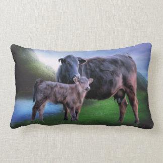 Coussin Rectangle Vache et veau noirs à Angus