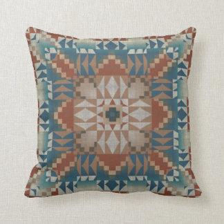 Coussin Regard ethnique éclectique bleu turquoise orange