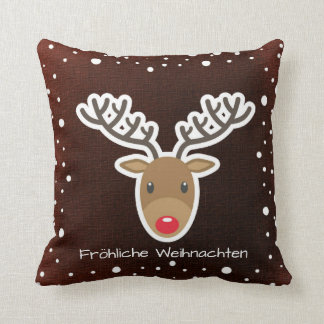 Coussin Renne et neige sur Fröhliche rouge Weihnachten