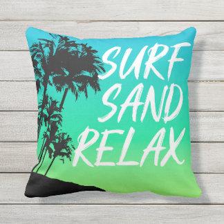 Coussin Réversible hawaïen de palmier de coucher du soleil