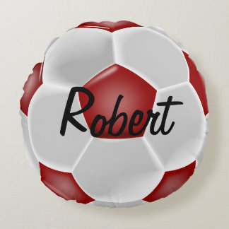 Coussin rond de ballon de football rouge fait sur