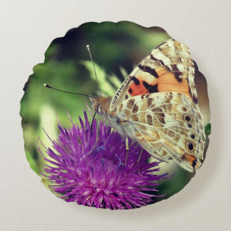 Coussin rond de jet de photo de papillon