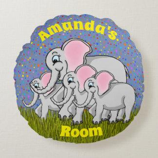 Coussin rond d'éléphants heureux