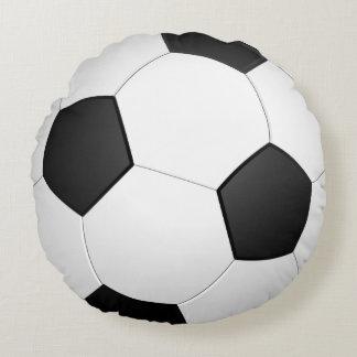 Coussin rond d'illustration du football de ballon