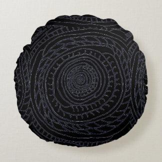 Coussin rond en spirale de Sun (édition noire et