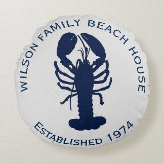 Coussin rond gris de Chambre de plage de homard de