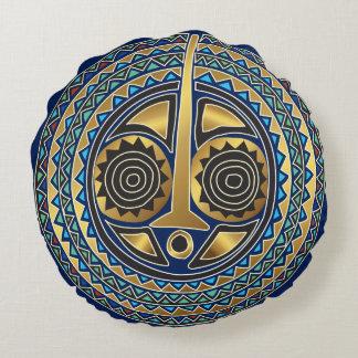 Coussin rond masque doré et bleu