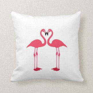 Coussin rose de flamant-oiseau-amour-coeur