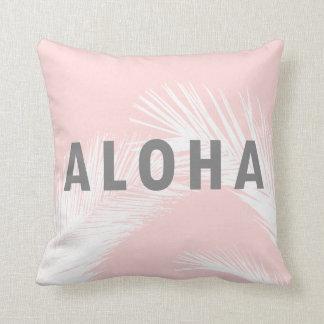 Coussin Rose gris de palmiers de typographie de Hawaïen