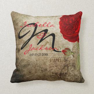 Coussin Rose rouge vintage de monogramme sur l'arrière -