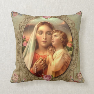 Coussin Roses de chapelet d'or de Jésus de bébé de Mary de