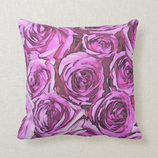 Coussin Roses magenta
