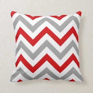 Coussin Rouge, blanc, motif de zigzag gris du DK grand