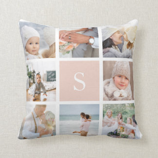 Coussin Rougissent le collage rose de photo de monogramme