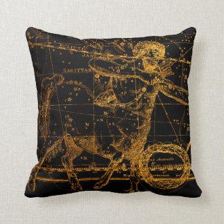 Coussin Sagittaire astrologique céleste d'or de carte