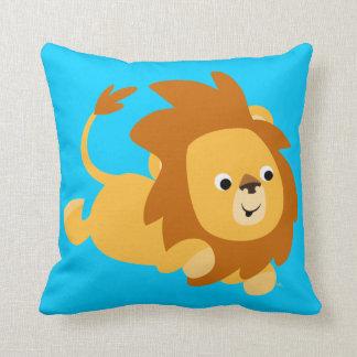 Coussin sautant de lion de bande dessinée mignonne