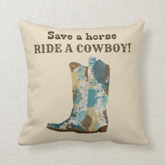 Coussin Sauvez un tour de cheval un carreau de cowboy